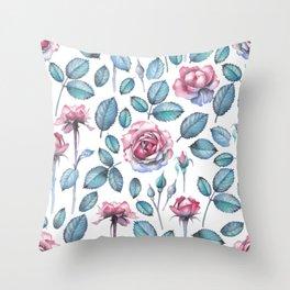 Cute watercolor roses Throw Pillow