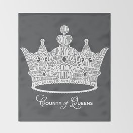 County of Queens | NYC Borough Crown (WHITE) Throw Blanket