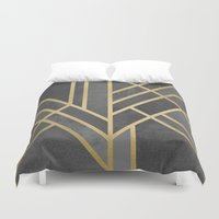 art deco Duvet Covers featuring Art Deco Geometry 1 by Elisabeth Fredriksson