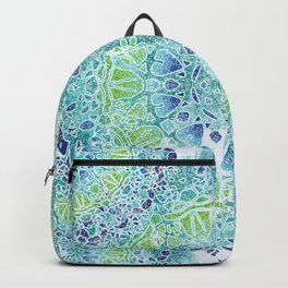 Blue Greenery Tie-Dye Mandala Backpack
