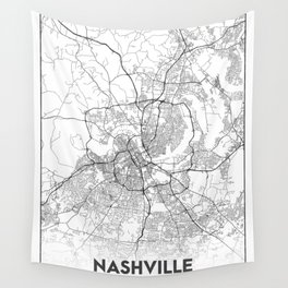 Minimal City Maps - Map Of Nashville, Tennessee, United States Wall Tapestry