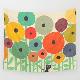 Cat in flower garden Wall Tapestry