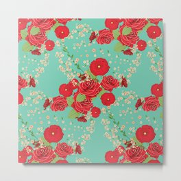 Red roses and poppies on teal Metal Print