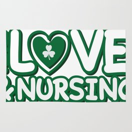 Nurse St Patricks Day Peace Love & Nursing Rug
