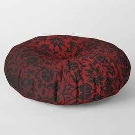 Dark Red and Black Damask Floor Pillow