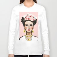 frida kahlo Long Sleeve T-shirts featuring Frida Kahlo by devinepaintings