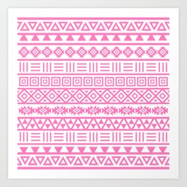 Aztec Influence Pattern Pink on White Art Print