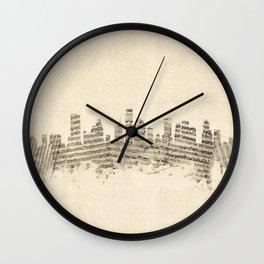 Houston Texas Skyline Sheet Music Cityscape Wall Clock