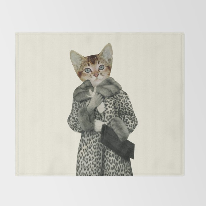 Kitten Dressed as Cat Throw Blanket