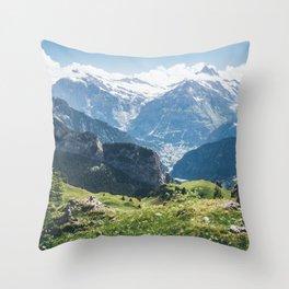 Swiss Alps Summer Landscape Throw Pillow