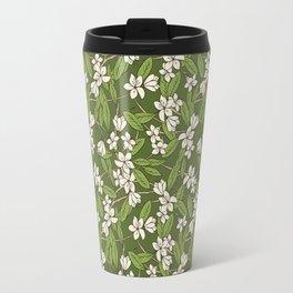 Sakura Branch Pattern - Greenery Travel Mug