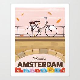 Amsterdam Holland Bicycle travel poster. Art Print