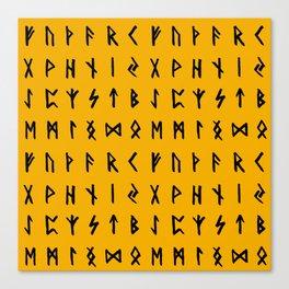 Nordic Runes // Orange Canvas Print
