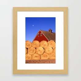 Straw Bales next to a Barn Framed Art Print