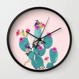 Cactus Hummingbirds Wall Clock