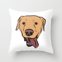 levi Throw Pillows featuring Levi the Yellow Lab by Rachel Barrett