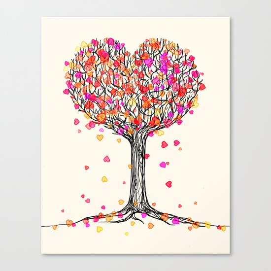 Love in the Fall - Heart Tree Illustration Canvas Print