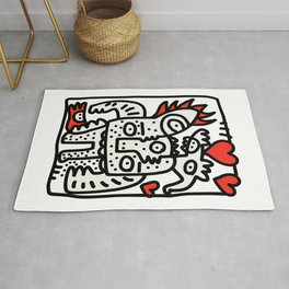 Spread Love Graffiti Art Black and White Red Heart  Rug