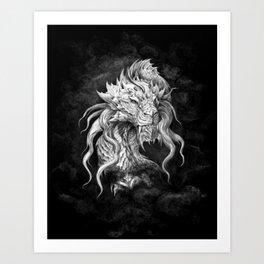 Dark Side Japanese Dragon portrait on black background | Graphit Art Print