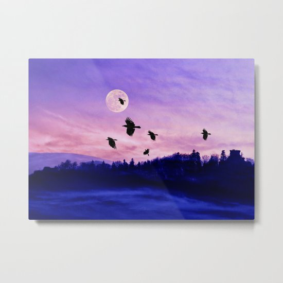 Crow moon Metal Print