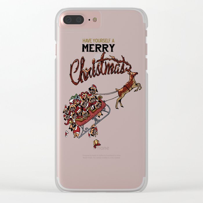 Pugs Christmas Clear iPhone Case