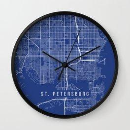 St Petersburg Map, USA - Blue Wall Clock