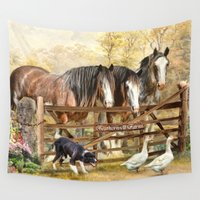 farm Wall Tapestries featuring Featherwell Farm by Trudi Simmonds