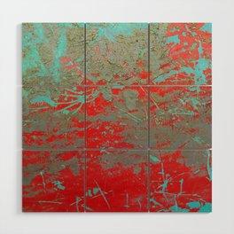 texture - aqua and red paint Wood Wall Art