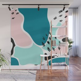 Blue Abstract Shapes Memphis Style Wall Mural