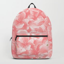 Hand painted coral white faux gold watercolor floral Backpack