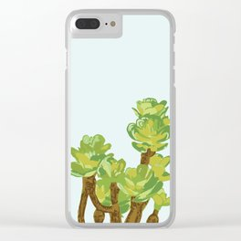 Portylacaria Afra Succulent Blue and Green Clear iPhone Case