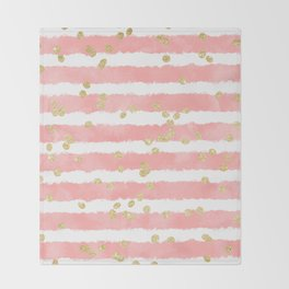 Modern blush pink watercolor stripes gold confetti pattern Throw Blanket