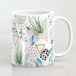 Geometric with cactus and butterflies Coffee Mug