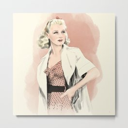 Ginger Rogers // Movie Star, Old Hollywood, Golden Age, Silver Screen // Watercolor, Pencil Sketch Metal Print