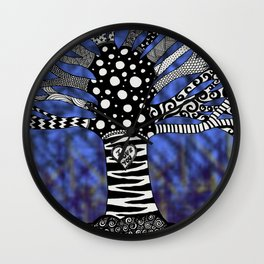 Blue Doodle Tree Wall Clock