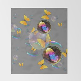 SURREAL YELLOW BUTTERFLIES & SOAP BUBBLES Throw Blanket