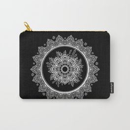 Bohemian Lace Paisley Mandala White on Black Carry-All Pouch