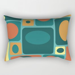 Mid Century Modern Turquoise Rectangles Rectangular Pillow