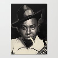 allyson johnson Canvas Prints featuring Robert Johnson by Brad Collins Art & Illustration