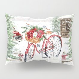 Winter Bicycle Pillow Sham