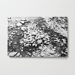 Frozen riverbed with snowy rocks in winter Metal Print