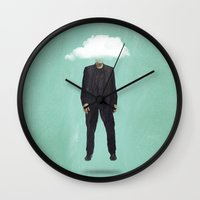 risa rodil Wall Clocks featuring Head in the Cloud by Vin Zzep