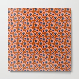 Mini Floral - Orange Blue Metal Print