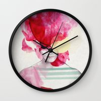 pink floyd Wall Clocks featuring Bright Pink - Part 2  by Jenny Liz Rome
