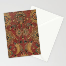 Flowery Boho Rug II // 17th Century Distressed Colorful Red Navy Blue Burlap Tan Ornate Accent Patte Stationery Cards