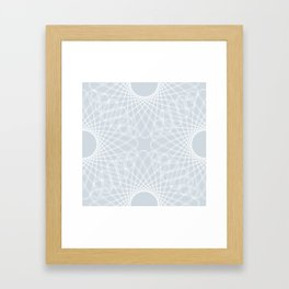 spirograph inspired pattern in white and a pale icy gray Framed Art Print