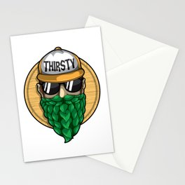 Thirsty - Hop Beard - Brewery Hipster Stationery Cards