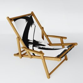 Brushstroke 7: a minimal, abstract, black and white piece Sling Chair