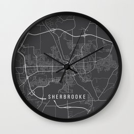 Sherbrooke Map, Canada - Gray Wall Clock