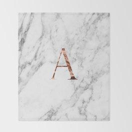 Monogram rose gold marble A Throw Blanket